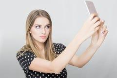 Blondynki kobiety selfie zdjęcie stock