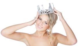 blondynki korony dziewczyny srebni uśmiechnięci potomstwa Obrazy Royalty Free