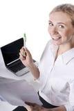 blondynki laptopu pomyślni potomstwa Zdjęcie Royalty Free
