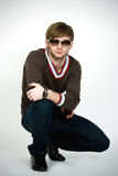blondynki mężczyzna nowożytni okulary przeciwsłoneczne fotografia royalty free