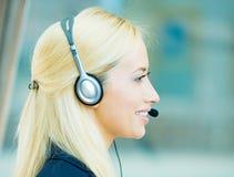 Blondynki obsługi klienta żeński przedstawiciel Zdjęcia Stock