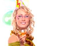 blondynki szampana szkło fotografia stock