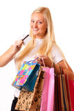 Blondynki szczęśliwa kobieta idzie target802_1_ Fotografia Stock