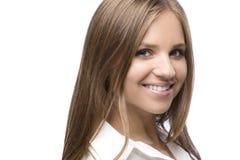 Blondynki uśmiechnięta Kobieta Headshot Zdjęcia Stock