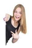 Blondynki zerkanie wokoło kąta Zdjęcie Stock