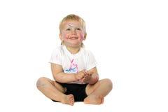 Blondynu dzieciaka farby sztuki Fotografia Royalty Free