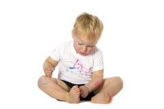 Blondynu dzieciaka farby sztuki Zdjęcie Royalty Free