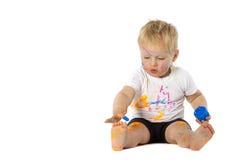 Blondynu dzieciaka farby sztuki Obrazy Royalty Free