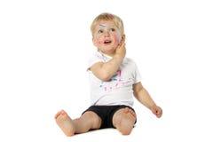 Blondynu dzieciaka farby sztuki Zdjęcia Royalty Free