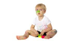 Blondynu dzieciaka farby sztuki Obraz Stock