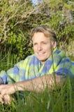 Blondynu przystojny uśmiechnięty dojrzały mężczyzna Fotografia Stock