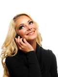 Blondyny na telefonie komórkowym Fotografia Stock