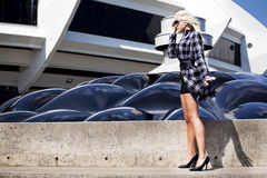 blonf时装模特儿 免版税库存图片