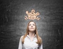 Blong girl and orange crown sketch Royalty Free Stock Image
