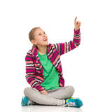 Blong Girl Pointing Up Royalty Free Stock Photos