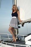 Blong grazioso sull'yacht fotografia stock