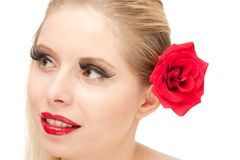 blong isolerad rose kvinna Fotografering för Bildbyråer