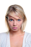 Blong woman sad expression Stock Image
