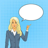 Blont finger för punkt för affärskvinna som pratar bubblapopet Art Colorful Retro Style Fotografering för Bildbyråer