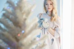 Blont kvinnastag nära fönstret jul min version för portföljtreevektor Arkivfoto