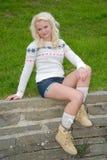 blont sexigt kvinnabarn Royaltyfria Bilder