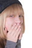 blont skratta för flicka som är tonårs- Arkivfoton