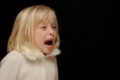 blont skrika för flicka Arkivbilder