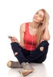 Blont tonårs- flickasammanträde Arkivbilder