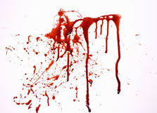 Blood. Studio shot of fake blood dripping and splattered