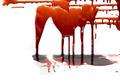 Blood. Running into a puddle for your ghoulish endeavors stock photos