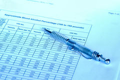 Blood alcholol level chart. Chart about driving impaired stock images