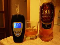 Blood alcohol level. Works by identifying alcohol vapors in the air. Details. And close-up royalty free stock image