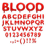 Blood alphabet numbers and symbols Stock Image