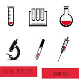Blood analysis medical icon set Royalty Free Stock Photography