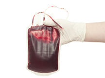 Blood bag. On white background Stock Photo