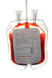 Blood bag. A bag of donor blood isolated on white background royalty free stock photos