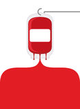 Blood bag. Blood donation transfusion bag. Blood poured out of b Stock Images