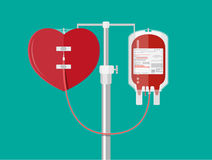 Blood bag and heart at holder Stock Photo