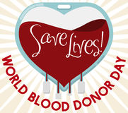 Blood Bag with Heart Shape for World Blood Donor Day, Vector Illustration Royalty Free Stock Photo