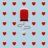 Blood Bag with hearts Stock Photo