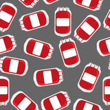 Blood bag seamless pattern. Blood transfusion background . Royalty Free Stock Photo