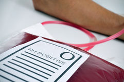 Blood bag with the text O RH positive Royalty Free Stock Photo