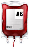 A blood bag with type AB blood Royalty Free Stock Photography