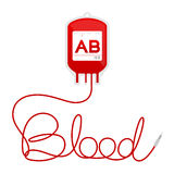 Blood bag type AB red color and blood text made from cord Royalty Free Stock Image