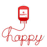 Blood bag type happy red color and happy text made from cord Royalty Free Stock Images