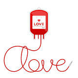 Blood bag type love red color and love text made from cord Stock Photography