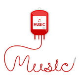 Blood bag type music red color and music text made from cord ill Royalty Free Stock Image