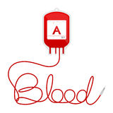 Blood bag type A red color and blood text made from cord Stock Photography