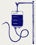 Blood bag. Vector. Doodle style Stock Photos