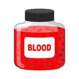 Blood Bank. Bottle of Red liquid-lymph. Vector illustration. Gif Royalty Free Stock Images